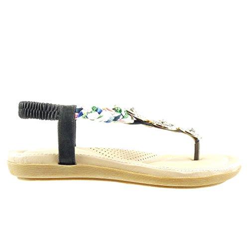 Angkorly - Scarpe da Moda sandali infradito cinturino donna gioielli intrecciato Tacco tacco piatto 2 CM - Nero