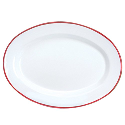 Enamelware Oval Plate, 11.75 inch, Vintage White/Red