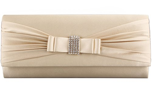 Grace Angel Women's Bow Rhinestones Evening Cocktail Party Clutch GALU4126E Champagne by Grace Angel