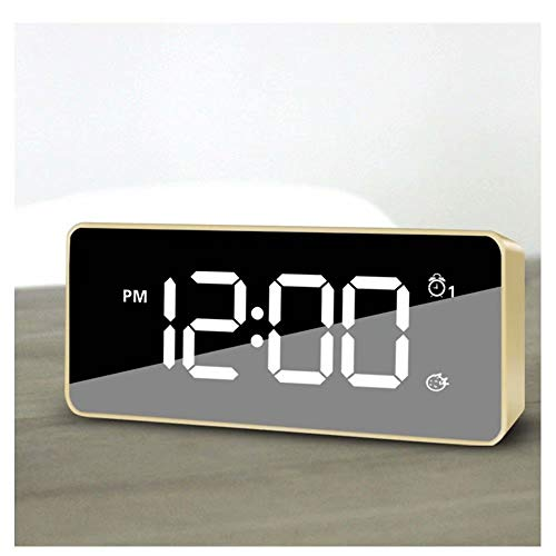 - Jpettie LED Mirror Alarm Clock Snooze Digital Table Clock Wake Up Light Electronic Large Time Temperature Display Desk Clocks USB Charge Home Decor