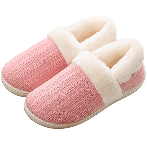 ALOTUS Unisex Hand Knit Memory Foam Warm Slipper Boot with Thick Fur Indoor Outdoor Pink