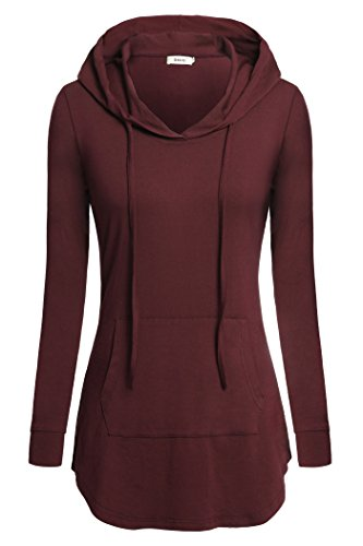 BEPEI Women Tees,Hoody Shirt Wear to Work Fashion Cute Tunic Blouses Tops Petite Hoodies Cowl Neck Sweatshirt Hi Low Sweaters Business Professional Casual Clothes Size 16 Wine Red XL ()