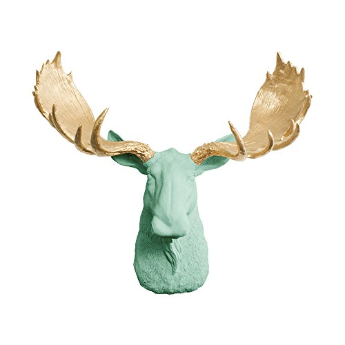 Wall Charmers Large Faux Moose Head The Alberta Room Decor Wall Art|Hand Finished Home Decor, Farmhouse Decor Bedroom Decor Bathroom Decor Office Decor Rustic Wall Decor Accents, Mint + Gold Antler