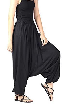 CandyHusky's Men Women 100% Rayon Baggy Boho Yoga Harem Pants -Black-One size