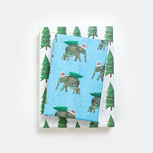 Christmas Elephants - Reversible Holiday Wrapping Paper - Eco Gift Wrap Allport Editions x (Holiday Reversible Gift Wrap)