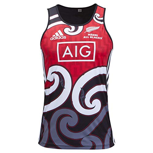 adidas All Blacks Maori Rugby Training Singlet, Black, Medium