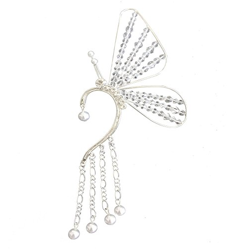 L'vow Silver Crystal Beads Butterfly Single Ear Cuffs Non Piercing Tassel Earring Wrap (Crystal)