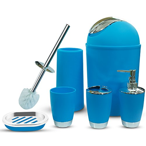 Accessory Soap Dispenser Bath - SOELAND Bathroom Accessories Set,6 Piece Plastic Bath Ensemble Includes Toothbrush Holder,Toothbrush Cup,Soap Dispenser,Soap Dish,Toilet Brush Holder,Trash Can for Housewarming Gift (Blue)