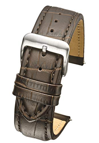 Heavy Padded & Stitched Genuine Leather Alligator Grain Watch Band in Extra Long Length for Wider Wrists ONLY- Brown - 26XL (fits Wrist Sizes 7 1/2 to 9 inch)