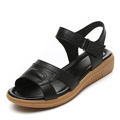 Girls L@YC Women'S Sandals Fish Mouth Summer Flat High Slope With Leather Soft Skid anti Skid Large Size Dress Ladies Shoes , black , 42