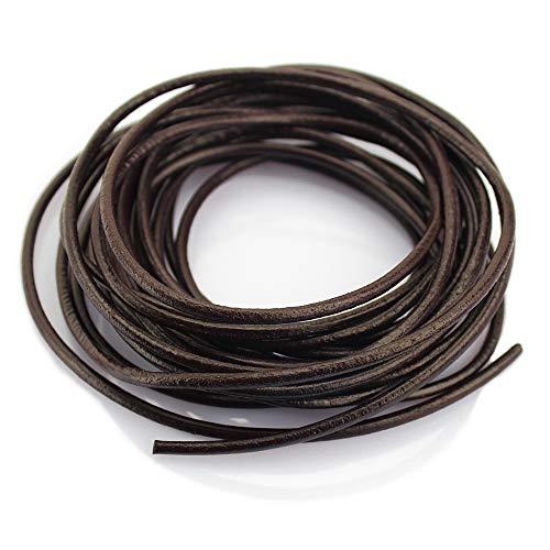 LolliBeads (TM) 3 mm Genuine Round Leather Cord Braiding String Dark Brown Espresso 5 Meters (5 Yards)