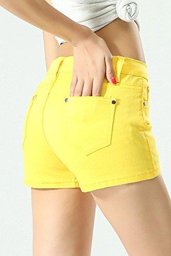 Tasca Yellow Donne Hot Di Jeans Taglia Le Con Pantaloncini Solido Jeans 8dnxPSF