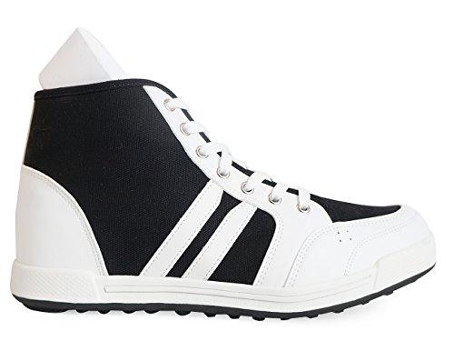 Mnx15 Femmes Ascenseur Chaussures Hauteur Augmentation 2.4 Oscar Noir Wedge Sneakers Haut Talon Baskets Noir