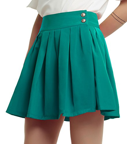 chouyatou Women's Double Waist Side Buttons Pleated Skirt (X-Small, Green)