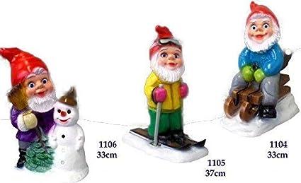 Juego de 3 Enano de jardín Navidad hasta 37 cm muñeco de nieve trineo de esquí irrompible grs 1104 05 06: Amazon.es: Oficina y papelería