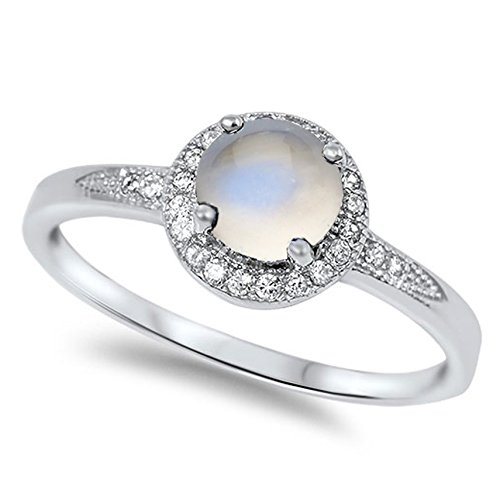 Cabochon Sterling Silver Ring - 925 Sterling Silver Cabochon Natural Genuine White Moonstone Round Halo Ring Size 5