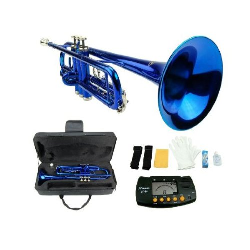 MERANO BLUE LACQUER PLATED TRUMPET WITH CASE + FREE METRO TUNER by Merano