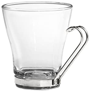 Bormioli Rocco Oslo Cappuccino Cup with Stainless Steel Handle, Set of