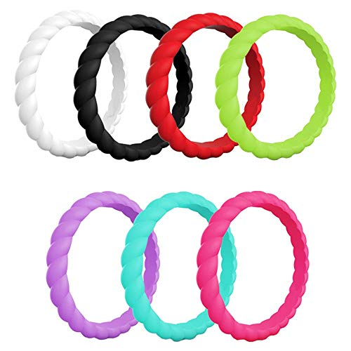 (AWLY 7 Pack Multiple Colors Women's Wedding Band Stackable Braided Silicone Rubber Sports Ring 3mm Size 7)