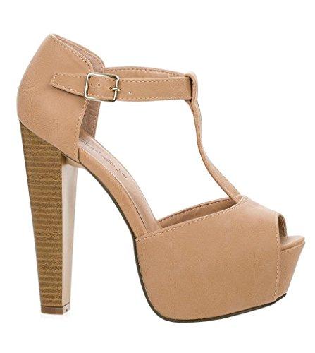 Breckelles - Womens Brina Peep Toe High Heel T-Strap Platform Sandal Natural 38026-8B(M)US