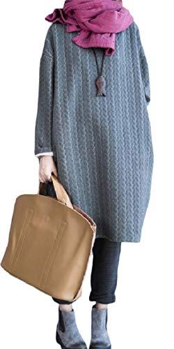Howme-femmes Ras Du Cou Mince Ample À Manches Longues Sur Des Poches De Taille Gris Robe Midi