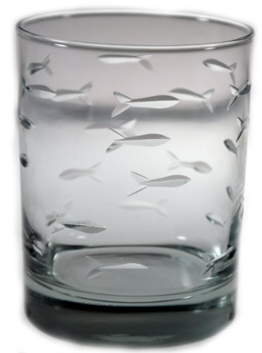 Nautical Tropical Imports Rolf Glass School of Fish Double Old Fashioned Glasses 4 Inch H 14 Ounces Set of - Old Etched Fashioned Glasses