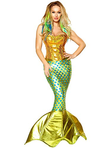 Roma Costume 2 Piece Siren Of The Sea Costume, Gold/Turquoise, Large