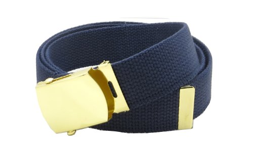 [Canvas Web Belt Military Style with Brass Buckle and Tip 54