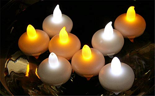 IMAGE Flickering Flameless Floating LED Candles 12PCS Smokeless Waterproof Floating LED Tealights Candles Wedding Party Spa Home Indoor Outdoor Decor-Cool White by IMAGE (Image #4)