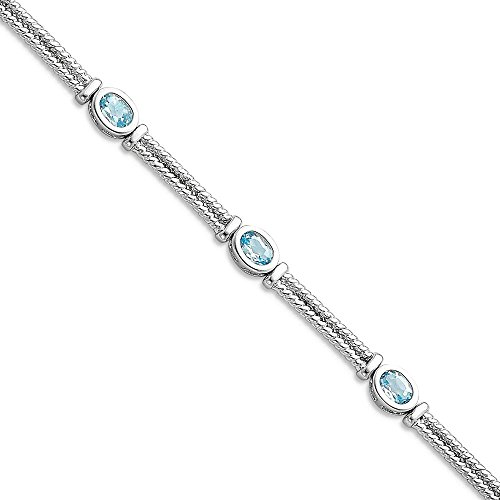 ICE CARATS 925 Sterling Silver Blue Topaz Bracelet 7 Inch Gemstone Fine Jewelry Gift Set For Women (Bangle Blue Topaz Bracelet)