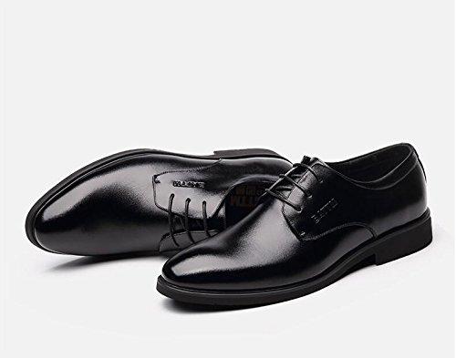 NBWE Herrenschuhe Sommerkleid Business Schuhe Lederschuhe Breathable Casual Runde Schuhe Business Formale Hochzeit Lace-ups Schuhe schwarz 997ee6