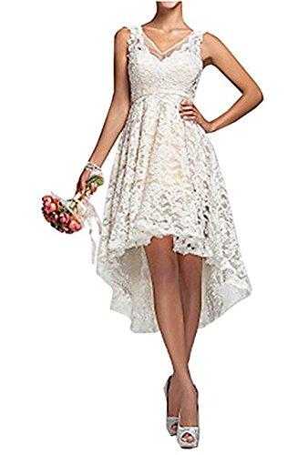 SABridal Womens V-neck Lace HI-LO Ivory Evening Dress for Reception Wedding Dress Short Lace Bridal Gown US6 White