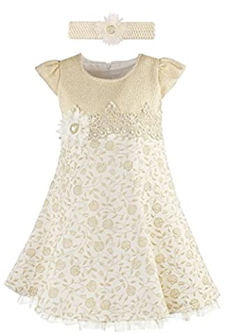 Lilax Little Girls' Rose Flocked Toddler Occasion Shimmer Dress with Headband 5T Gold