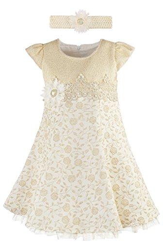 Lilax Little Girls' Rose Flocked Toddler Occasion Shimmer Dress with Headband 4T Gold (School Girl Fancy Dress Ideas)