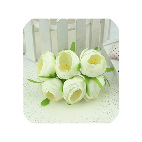 Best Halloween Parties In Charlotte Nc (6pcs Silk Mini Tea Bud Artificial Rose Flowers Bouquet for Wedding Party Decoration,Milk)