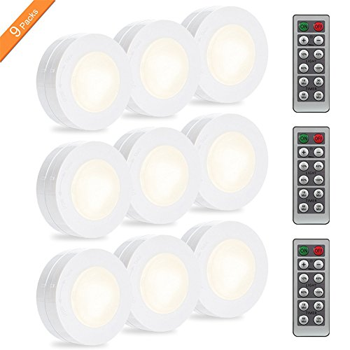 LUNSY Wireless LED Puck Lights, Closet Lights Battery Operated with Remote Control, Kitchen Under Cabinet Lighting Wireless, 4000K Natural White - 9 Pack