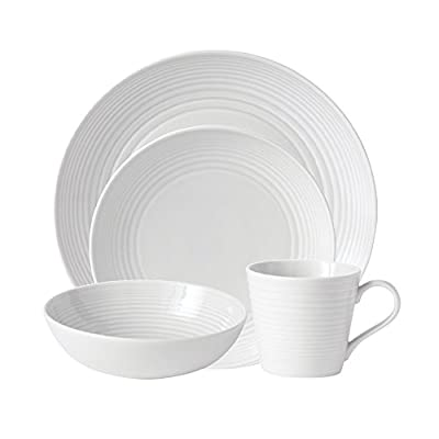 Royal Doulton 8574024522 Gordon Ramsay Maze White 4-Piece Set - Dinner Plate, Salad Plate, All Purpose Bowl, Mug; Material: Stoneware This is a 4 Piece Place Setting (Service for 1) 1 - Dinner Plate  - kitchen-tabletop, kitchen-dining-room, dinnerware-sets - 41juAUrfNIL. SS400  -