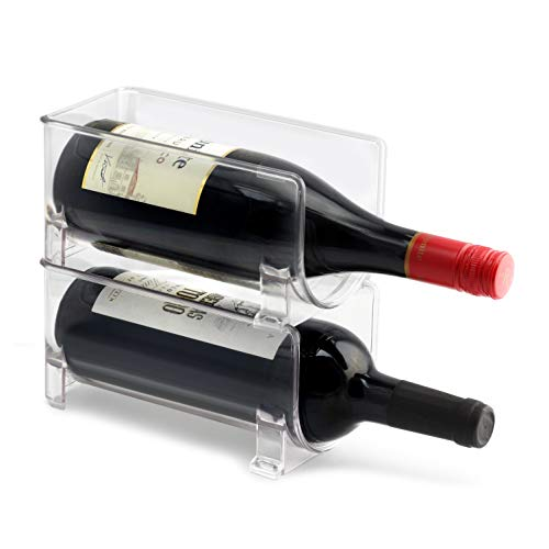 - ELTOW Modular Plastic Wine Rack (2-Pack) Stackable Display and Storage System | Clear, Heavy-Duty PET Plastic | Home Kitchen, Bar, Countertop, or Dining Room Use