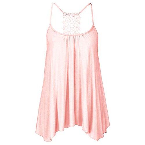 JUNGEN Chaleco del estilo del cordón del chaleco de la manera que basa la camisa ocasional en verano para las mujeres Rosa L