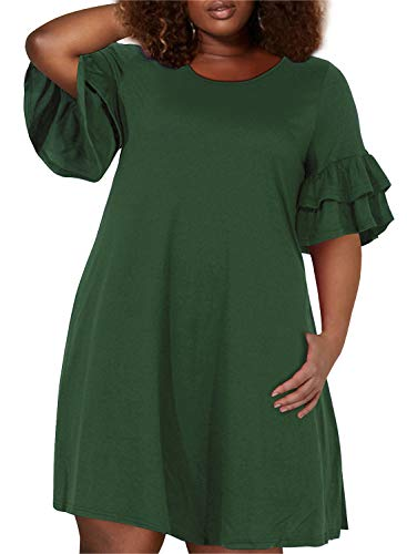 Nemidor Women's Ruffle Sleeve Jersey Knit Plus Size Casual Swing Dress with Pocket (Army Green, 24W)