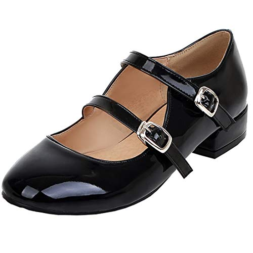 Agodor Women's Flat Ankle Strap Mary Janes Work Shoes Patent Leather Casual Ballet Flats Shoes (US 8.5, Black 1)