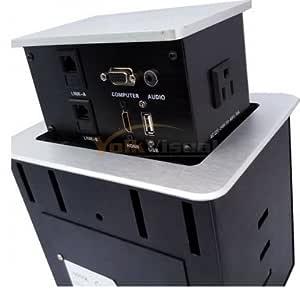 Yolkvisual Conference Table Connectivity Box 1 HDMI + 1 VGA + 1USB + 2 RJ 45 + AC Power(US) 2 - Silver