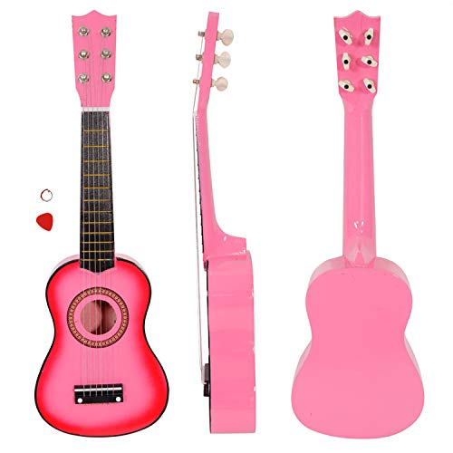 Vintage Stringed Instruments - Beginner Acoustic Guitar with Pick and Steel String, 21 inch Mini 6-String Acoustic Guitar Bundle Kit Stringed Musical Instrument Bundle for Students Children Adult (US STOCK) (21inch, Pink)
