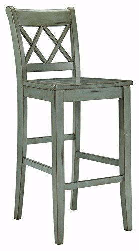 Ashley Furniture Signature Design - Mestler Bar Stool - Pub Height - Vintage Casual Style - Set of 2 - Blue / Green  sc 1 st  Amazon.com : antique bar stools wood - islam-shia.org