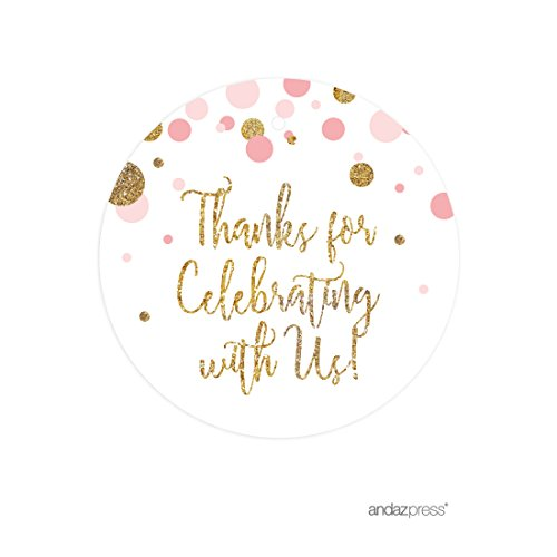 - Andaz Press Blush Pink Gold Glitter Girl Baby Shower Party Collection, Round Circle Gift Tags, Thank You for Celebrating With Us, 24-Pack