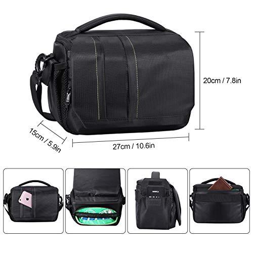 Estarer Camera Shoulder Bag Case, DSLR Camera Bag Water-Resistant for Nikon, Canon, Sony, Fuji Instax, Mirrorless Cameras and Lenses