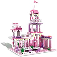 BRICK STORY Girls Princess Castle Building Blocks Toys Building Kit with Palace King's Banquet Pink Bricks