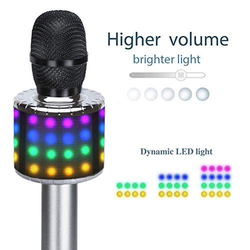 Wireless Bluetooth Karaoke Microphone with Multi-color LED Lights, 4 in 1 Portable Handheld Home Party Karaoke Speaker Machine for Android/iPhone/iPad/Sony/PC (Space gray) … by Fifth Avenue-Store (Image #3)