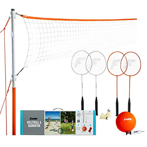 Franklin Sports Volleyball & Badminton Combo – Starter, Family, & Professional Sets