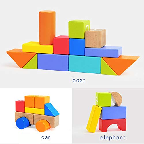 Lxrzls Large Wooden Building Blocks-Preschool Education for Toddler Children-Stacking Toys-Wooden Shape to Build Blocks Children's Educational Toys by Lxrzls (Image #4)